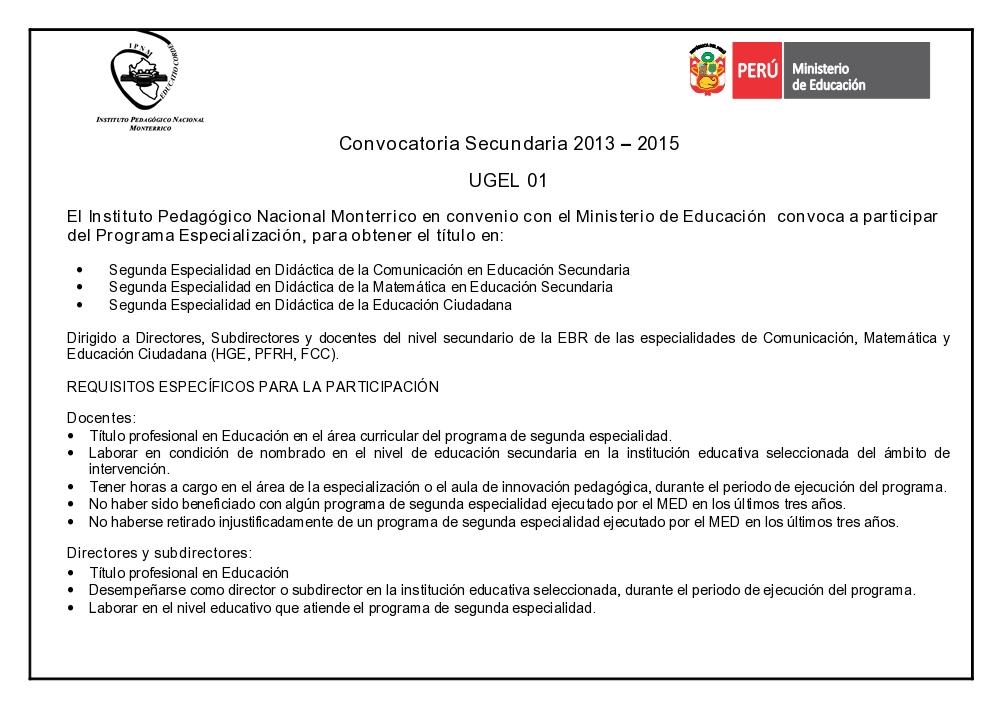 DE LA UGEL 01, DEL NIVEL DE EDUCACIÓN SECUNDARIA DE LAS ÁREAS DE ...
