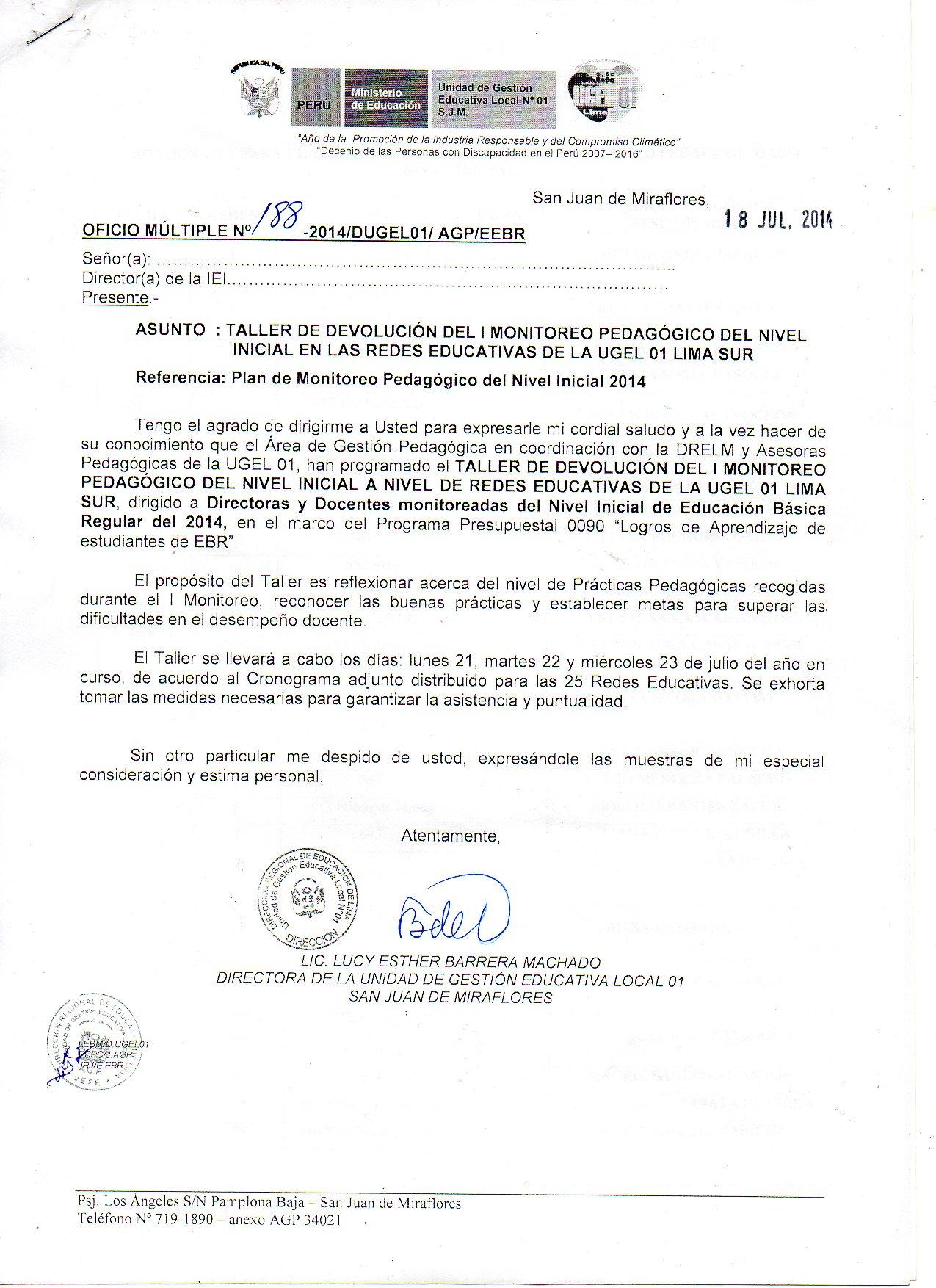 ÁREA DE GESTIÓN PEDAGÓGICA UGEL 01