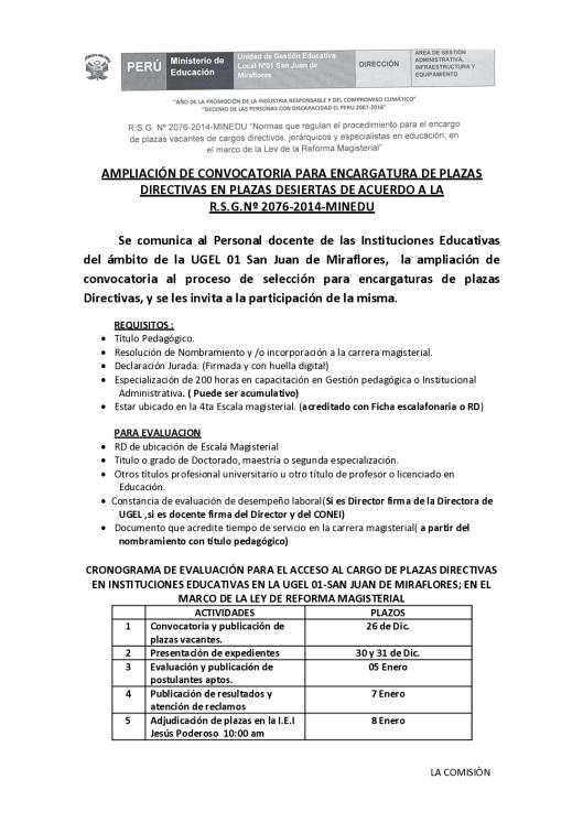 ampliaciÓn de convocatoria para encargatura de plazas directivas en plazas desiertas de acuerdo a la_1
