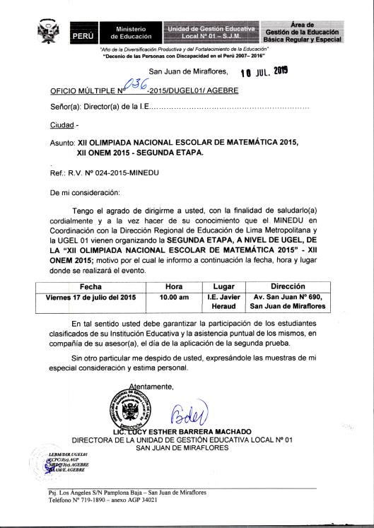 OFICIO SEGUNDA ETAPA ONEM