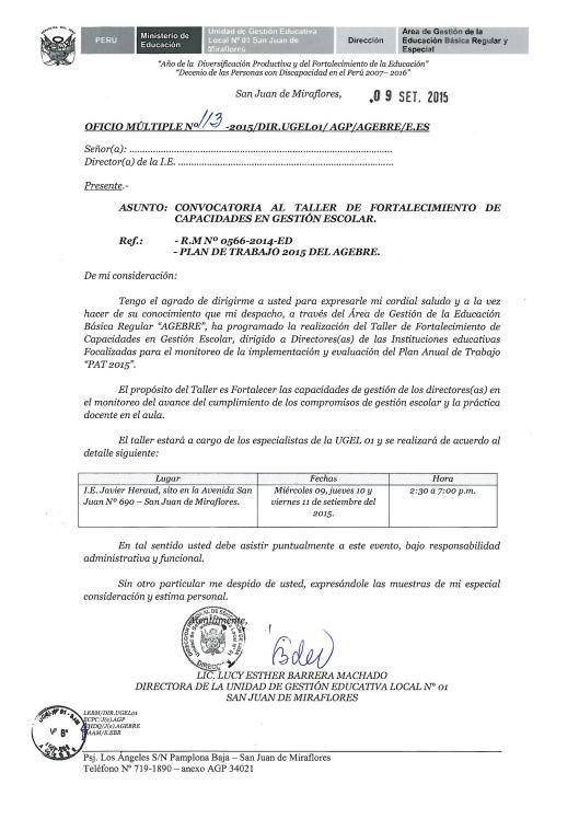 OFICIO CONVOCATORIA TALLER PARA DIRECTIVOS PAT 2015