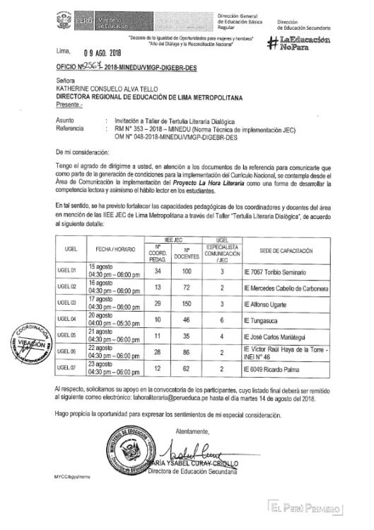 Oficio DRELM - Taller Tertulia Literaria_001
