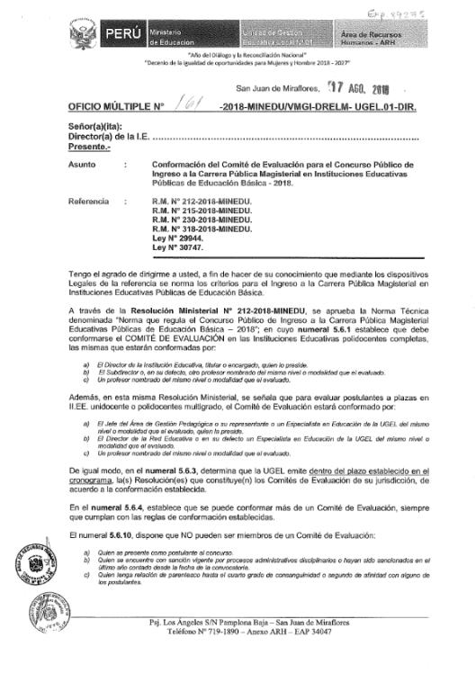 OFICIO MULT 161-UGEL 01 CTE. EVAL NOMB DOC 2018_001
